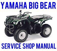 2001-02 Yamaha Big Bear YFM400 4x4 Service Repair Shop Manual Bonus YFM350 ON CD