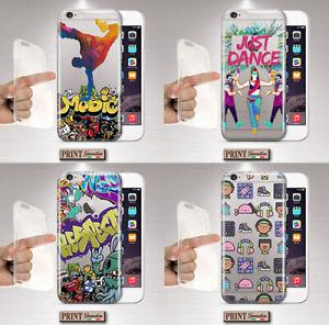 Dettagli su Cover per,Iphone,DANZA,HIP HOP,silicone,morbido,URBANO,TRASPARENTE,STREET ART