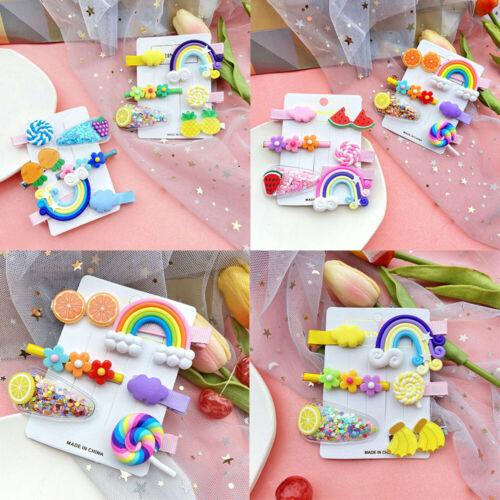 6pcs Lovely Fruit Baby Hair Pins Clip Girls Cute Bobby Pin Kids Hair Accessories