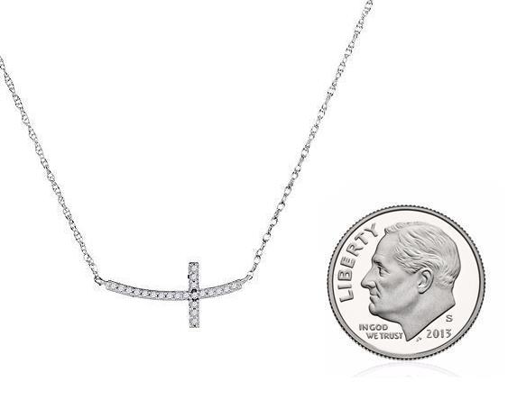 Collana con con con Croce 10k oro Bianco e Diamanti Obliqua Petite Croce 9319da