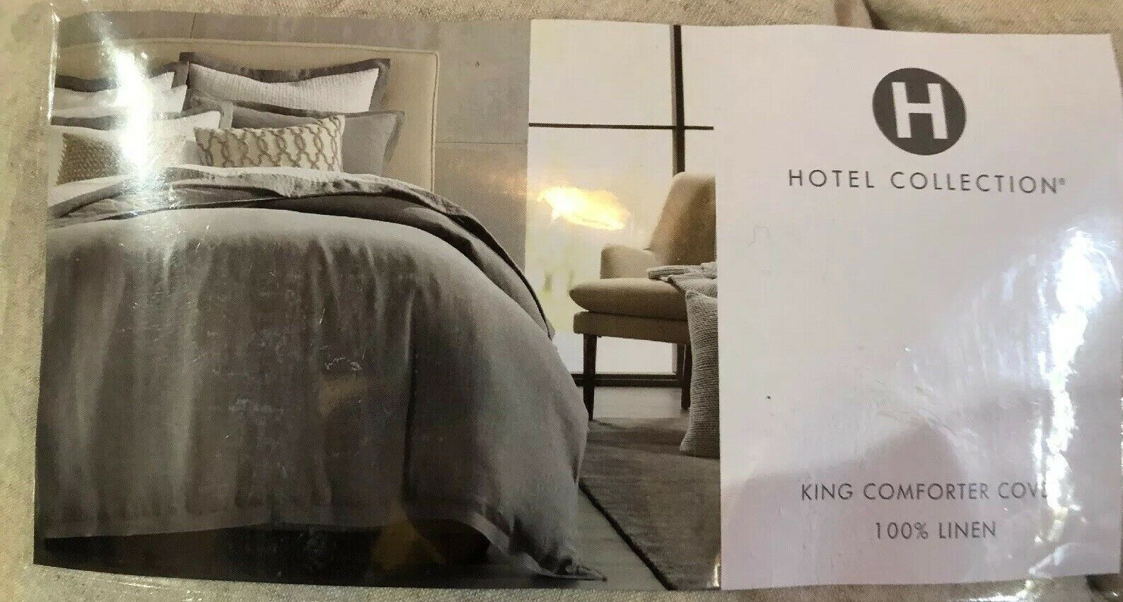 HOTEL COLLECTION KING COMFORTER COVER 100% LINEN PALLADIUM  420