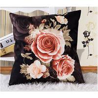 Victorian Complete Throw Pillow Cushion Black Velvet Pink Cream Rose Decor