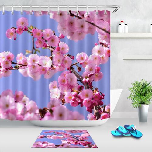 "Bathroom Shower Curtain Liner Blooming Peach Blossom 72x72/"" Waterproof Fabric"