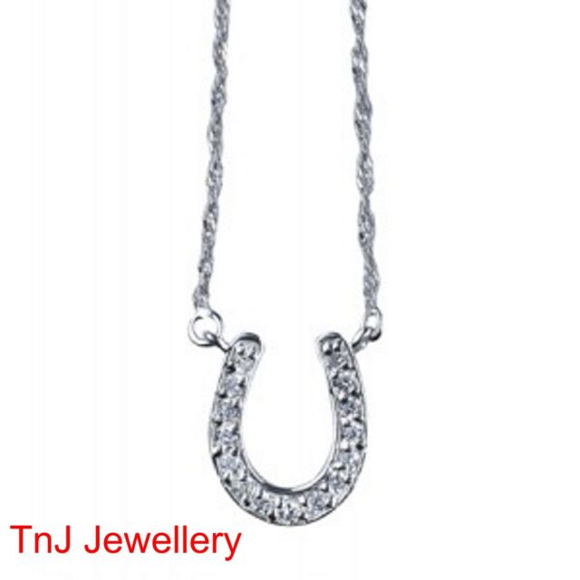 Genuine Solid 925 Sterling Silver Horseshoe Pendant Set CZ With 925 Silver Chain