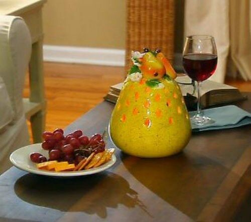 QVC Home Reflection Kitchen Decor Pear Fruit Flameless Candle Luminary w// Timer