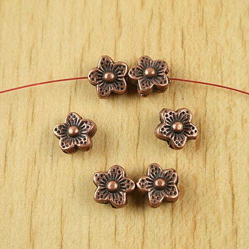 20pcs copper tone plum flower spacer beads H1937
