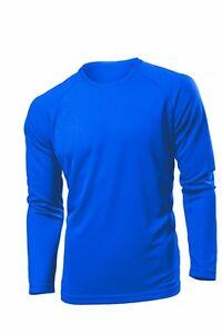 Hanes Tagless Mens Cotton Plain ROYAL MID BLUE Long Sleeve Tee T ...