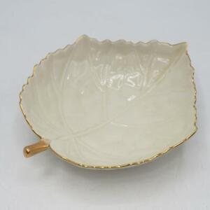 Vintage Lenox Ivory Leaf Candy Dish with Gold Trim made in Japan