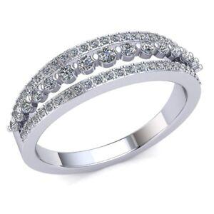 Genuine-0-5ctw-Round-Cut-Diamond-Ladies-Accent-Anniversary-Wedding-Band-10K-Gold