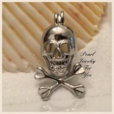 SKULL Pirate Wish Pearl Cage Silver Pendant for akoya oyster pearls or beads