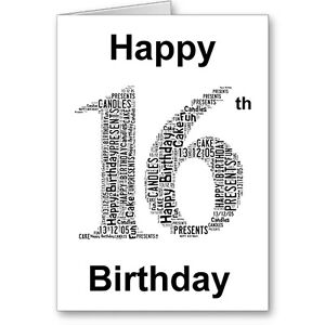 Image Is Loading Personalised Printed Typographic Sixteen 16th Birthday Card Gift
