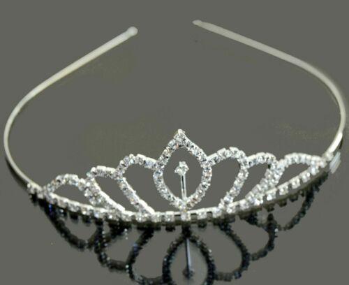 Tiara Diadem Prinzessin Krone Haarreif Hochzeit Kommunion Mädchen Silber//Klar