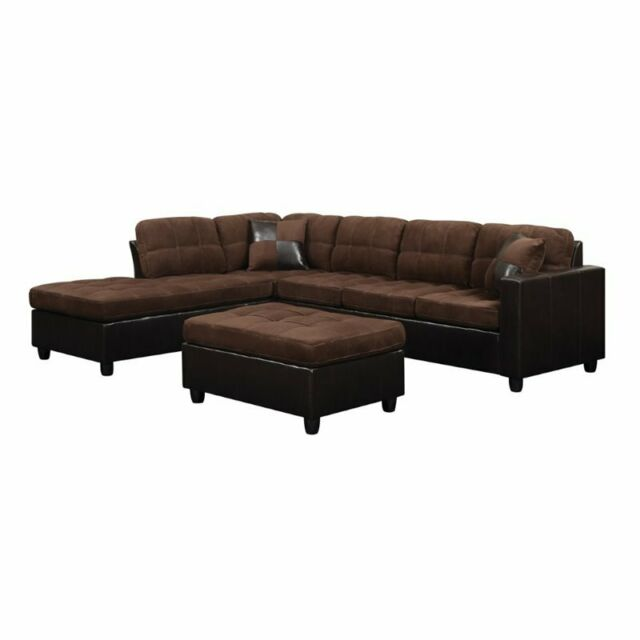 Strange Coaster 505655 Mallory Chocolate Two Tone Reversible Sectional Sofa Squirreltailoven Fun Painted Chair Ideas Images Squirreltailovenorg