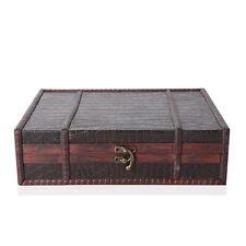 Brown Crocodile Embossed Wooden Ring Jewelry Organizer Box Storage
