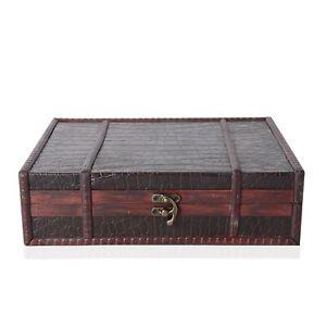 Brown-Crocodile-Embossed-Wooden-Ring-Jewelry-Organizer-Box-Storage