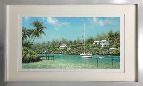 "Large Framed Fine Art Boat Island /""Heading Out/"" by Tripp Harrison"
