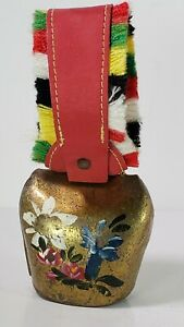 Vintage-Brass-Cow-Bell-Zurich-Hand-Painted-with-Fringed-Red-Leather-Strap