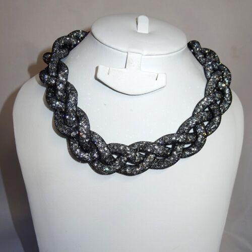 Braided Crystal Swarovski Element Choker Stardust Necklace Magnetic closure