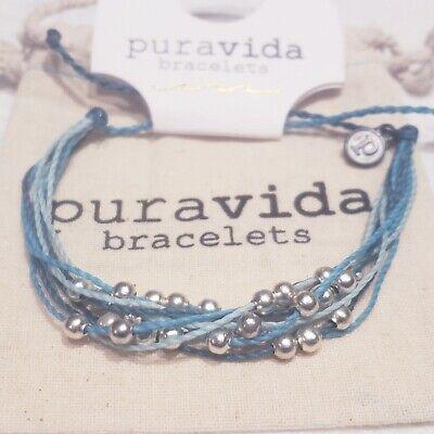 Pura Vida Bracelet ~ Platinum Aqua w blue ombre strings ...