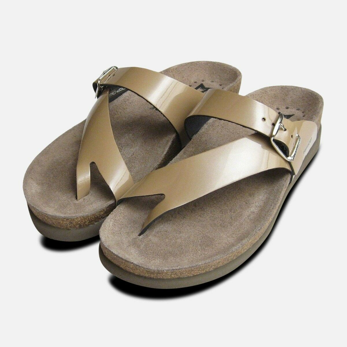 Ladies Helen in Nude Patent Leather Mephisto Sandals