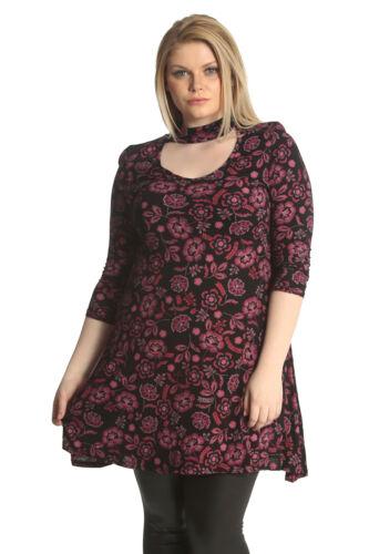 New Womens Plus Size Top Ladies Swing Shirt Floral Print Choker Neck Nouvelle