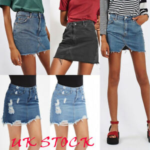 Jean Short 6 Celeb Bodycon Vita alta Frayed line Ripped Skirt 16 Denim A Womens x0wdS7vTqq
