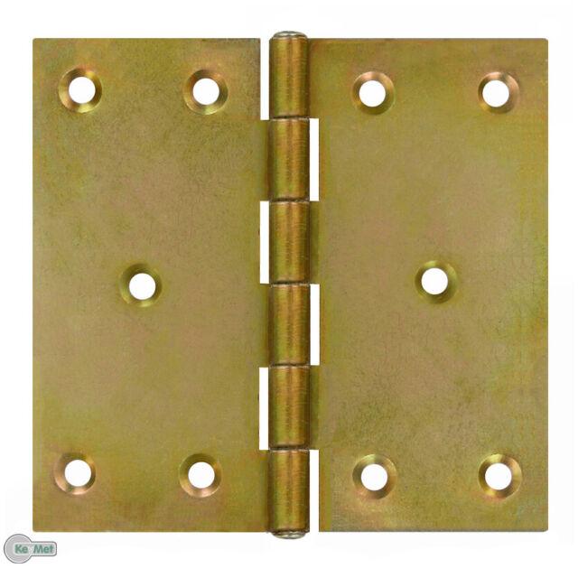 20 Bisagras Afiladas para Puertas 100 x 100 X 2,0MM Cinc Amarillo Plateado