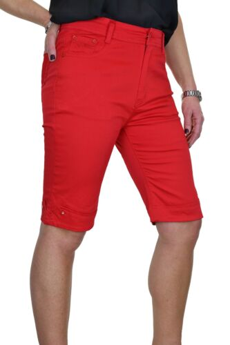 Stile Jeans Stretch Pantaloni corti chino Sheen Diamante Polsino Rosso Nuovo 10-20