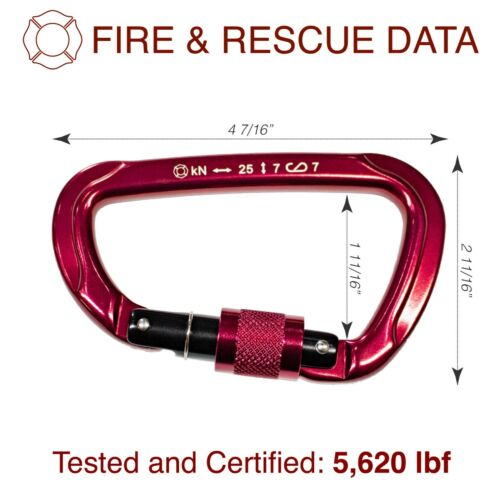Turnout Tools Firefighter /& Rescue Services Locking Carabiner NFPA 1983 /& 2112