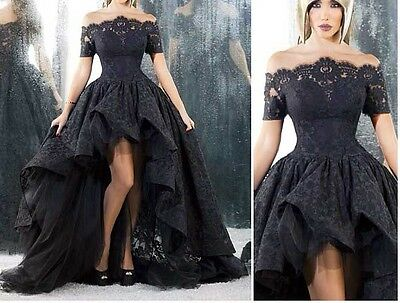 Gothic Black Short Sleeves Lace Evening Prom Party Gowns Wedding Pageant Dresses