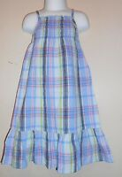 Old Navy Toddler Girls Linen Blend Ruched Bodice Plaid Dress + Panty Blue 2t