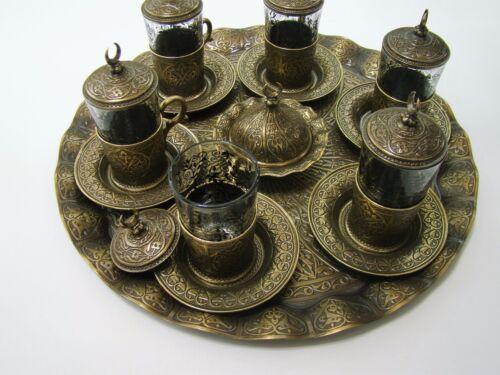 Handmade Authentique Copper /& Glass Turkish Ottoman Tea Set 27 pcs.Dogantas