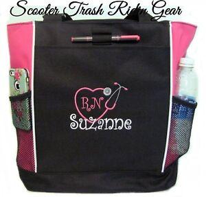Image Is Loading Personalized Nurse Rn Monogram Tote Bag Pink Black