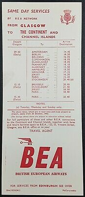 Vintage BEA Timetable UK To Northern Ireland Winter From 01-12-1952 T18