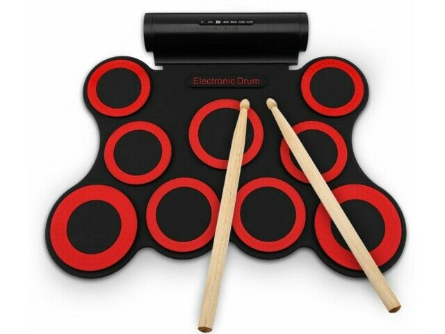Electronic Drum Kit-9 Pads Portable Roll up Drum Foldable, Speakers & FootPedals