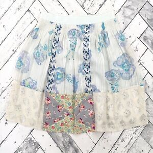 Rebecca-Taylor-Silk-Metallic-Skirt-Sz-4-Floral-Print-A-Line