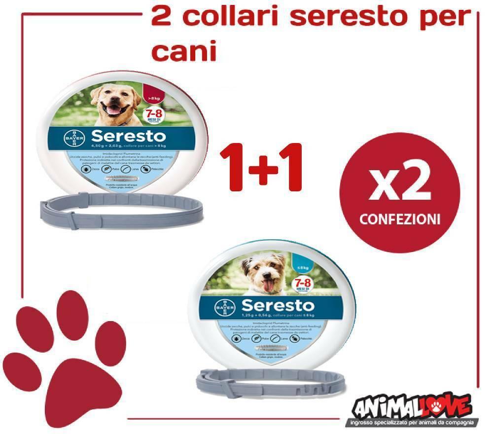 2 COLLARI 11 Seresto Bayer  1 Collare per cani fino 8 kg  1 oltre 8 Kg