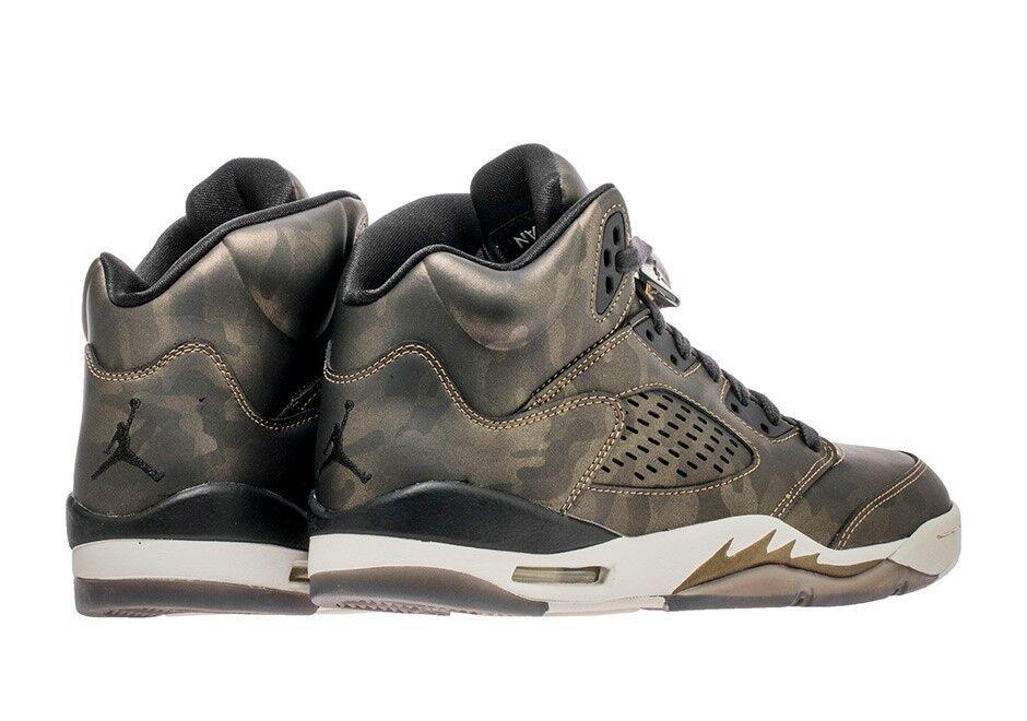 Nike air jordan v retro camo metallic - ladung ladung ladung olivenöl 5 bronze schwarze sz 9,5 obersten 348818