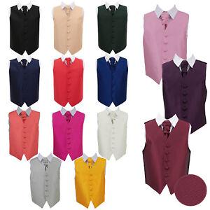 DQT-Boys-Waistcoat-Cravat-Set-Woven-Plain-Solid-Check-Wedding-Vest-All-Sizes