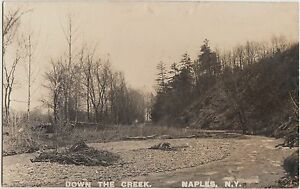 New-York-NY-Postcard-c1920-NAPLES-Real-Photo-RPPC-Down-The-Creek