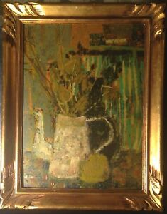 French-expressionist-oil-painting-VERNET-BONFORT-b-1934-Thistles-and-Teapot