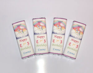20 Personalised Cute Pink White Unicorn Birthday Chocolate Bar WRAPPERS Ref;K50