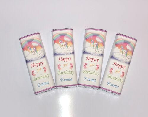 30 Personnalisé Mignon Rainbow Unicorn anniversaire chocolat BAR wrappers ref; K51