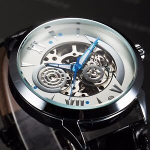 Galaxy-Men-039-s-Wrist-Watch-Automatic-Mechanical-Skeleton-Steampunk-Leather-Strap