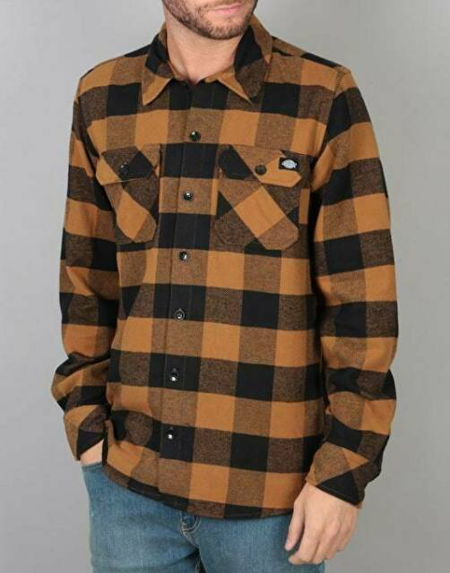 Dickies Men's BD Brown Duck Plaid Sacramento L/S Flannel Shirt (Retail $44.99)