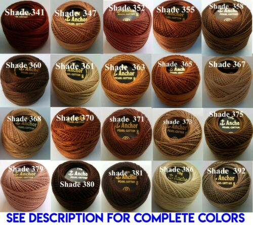 100 ANCHOR Pearl Cotton Crochet 8 Embroidery Thread Balls Best Colors or Choose