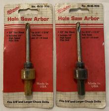 2 Vintage Milwaukee 49 56 7010 Hole Saw Arbor 38 Hax Shank Made In Usa Unused