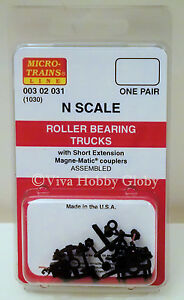 Micro-Trains-00302031-N-1030-Roller-Bearing-Trucks-w-Short-Extension-Couplers