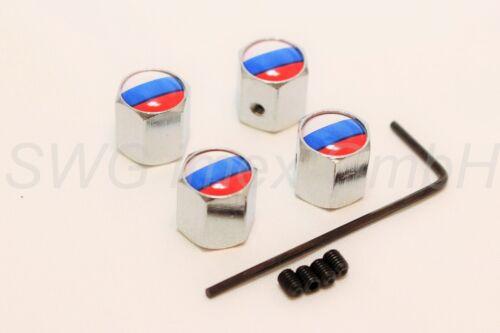 4x Valvola Auto Cappuccio Valvola Tappi Cromo Logo Bandiera di Russia Flag russa