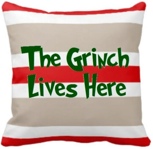 Stencil The Grinch Lives Here Christmas Sign or Pillow Stencil